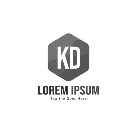 Initial KD logo template with modern frame. Minimalist KD letter logo illustration Stockfoto - 129208510