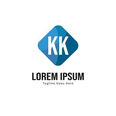 Initial KK logo template with modern frame. Minimalist KK letter logo illustration Logó