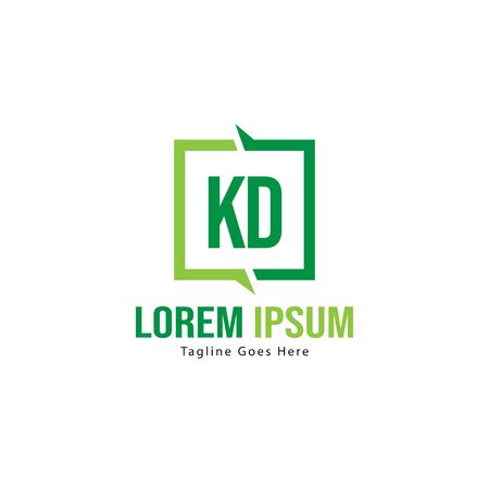 Initial KD logo template with modern frame. Minimalist KD letter logo vector illustration Stockfoto - 129224436