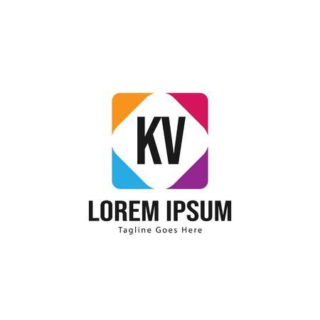 Initial KV logo template with modern frame. Minimalist KV letter logo vector illustration Logó