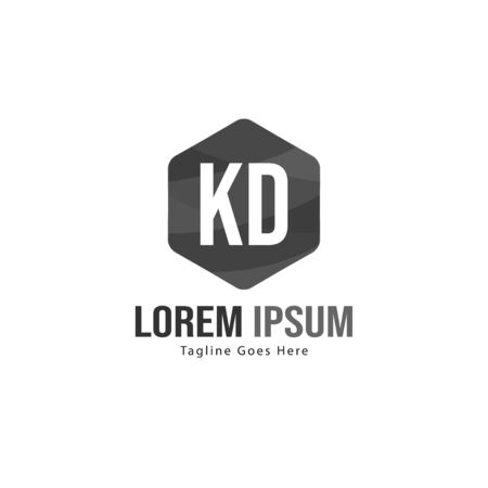 Initial KD logo template with modern frame. Minimalist KD letter logo vector illustration Stockfoto - 129224967