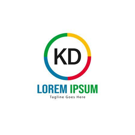Initial KD logo template with modern frame. Minimalist KD letter logo vector illustration Stockfoto - 129225458