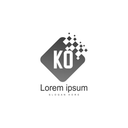 Initial KO logo template with modern frame. Minimalist KO letter logo vector illustration