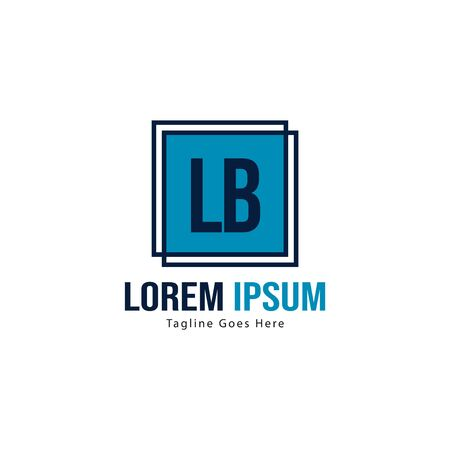 Initial LB logo template with modern frame. Minimalist LB letter logo vector illustration