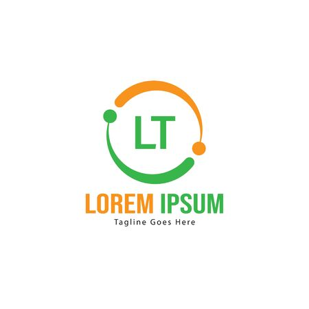Initial LT logo template with modern frame. Minimalist LT letter logo illustration