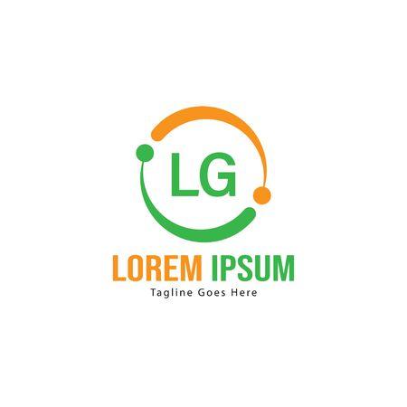 Initial LG logo template with modern frame. Minimalist LG letter logo vector illustration