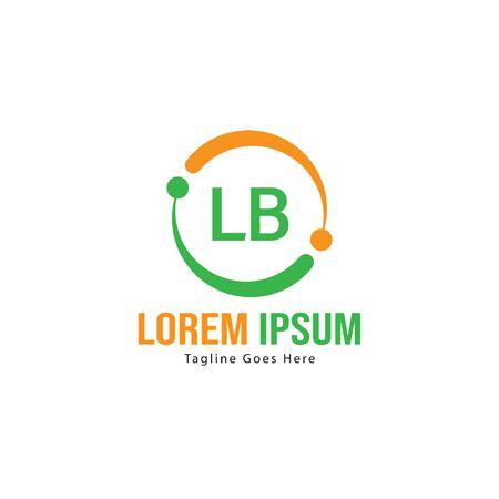 Initial LB logo template with modern frame. Minimalist LB letter logo vector illustration Logó