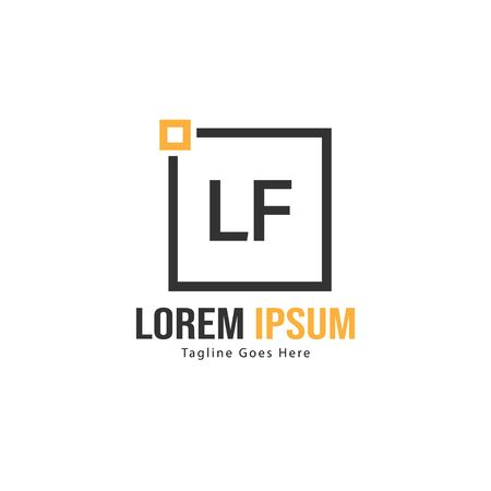 Initial LF logo template with modern frame. Minimalist LF letter logo vector illustration