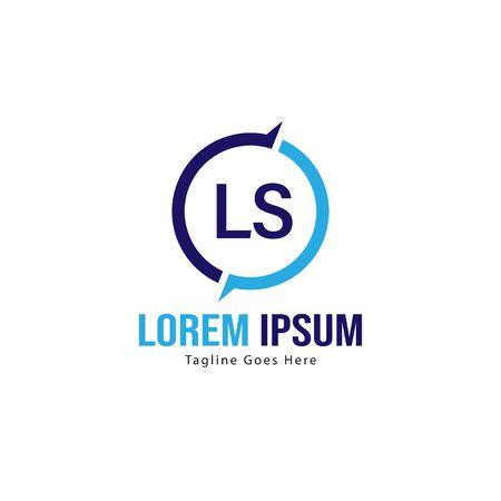 Initial LS logo template with modern frame. Minimalist LS letter logo vector illustration