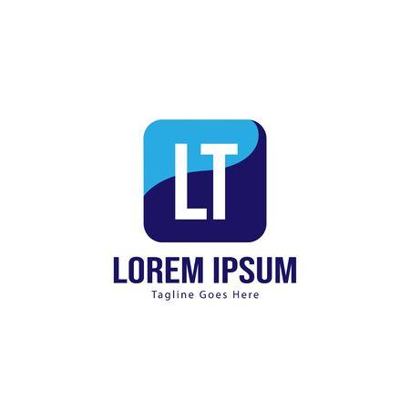 Initial LT logo template with modern frame. Minimalist LT letter logo vector illustration