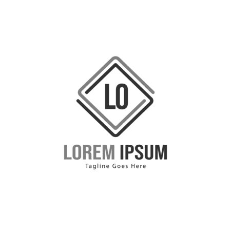 Initial LO logo template with modern frame. Minimalist LO letter logo vector illustration