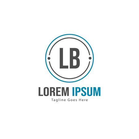 Initial LB logo template with modern frame. Minimalist LB letter logo vector illustration