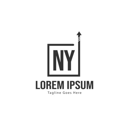 Initial NY logo template with modern frame. Minimalist NY letter logo vector illustration 일러스트