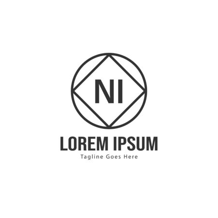 Initial NI logo template with modern frame. Minimalist NI letter logo illustration
