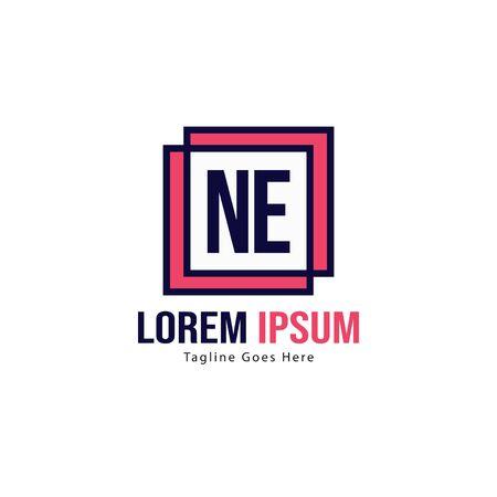 Initial NE logo template with modern frame. Minimalist NE letter logo vector illustration
