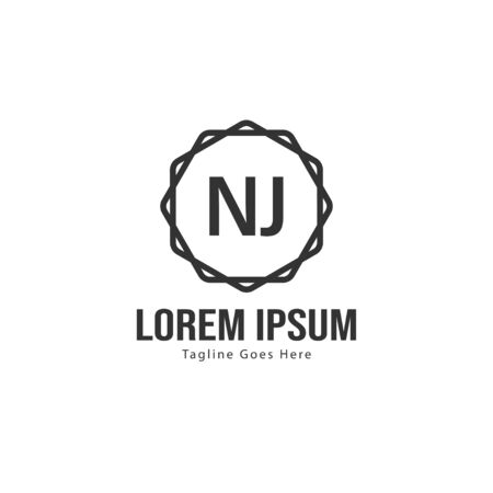 Initial NJ logo template with modern frame. Minimalist NJ letter logo vector illustration Ilustrace