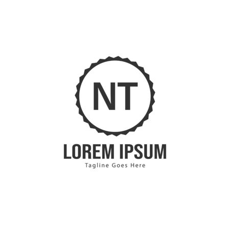 Initial NT logo template with modern frame. Minimalist NT letter logo vector illustration