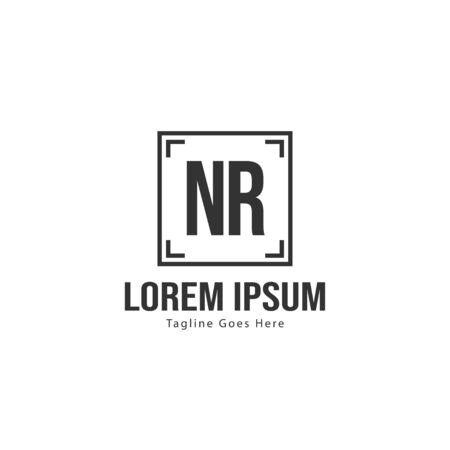 Initial NR logo template with modern frame. Minimalist NR letter logo vector illustration