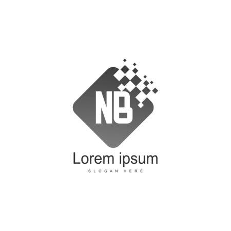 Initial NB logo template with modern frame. Minimalist NB letter logo vector illustration