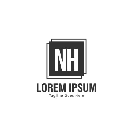 Initial NH logo template with modern frame. Minimalist NH letter logo vector illustration