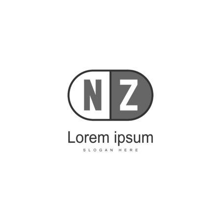 Initial NZ logo template with modern frame. Minimalist NZ letter logo vector illustration