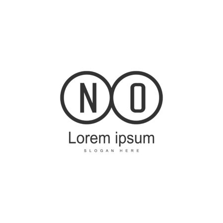 Initial NO logo template with modern frame. Minimalist NO letter logo vector illustration Ilustrace
