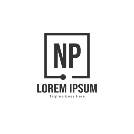 Initial NP logo template with modern frame. Minimalist NP letter logo vector illustration Ilustracja