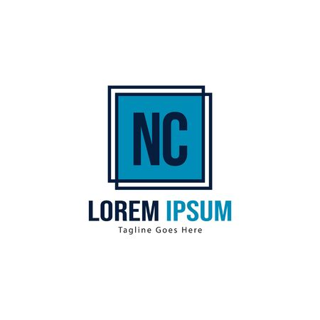 Initial NC logo template with modern frame. Minimalist NC letter logo vector illustration