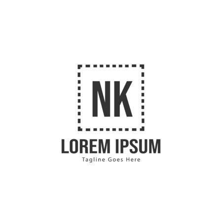 Initial NK logo template with modern frame. Minimalist NK letter logo illustration
