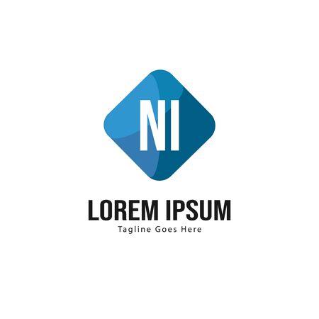 Initial NI logo template with modern frame. Minimalist NI letter logo vector illustration Logó