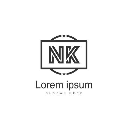 Initial NK logo template with modern frame. Minimalist NK letter logo vector illustration