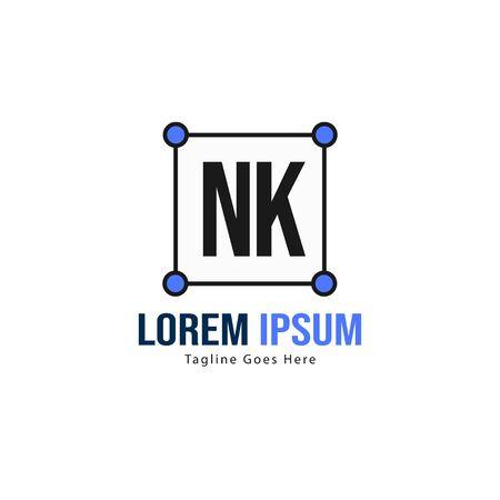 Initial NK logo template with modern frame. Minimalist NK letter logo vector illustration Ilustrace