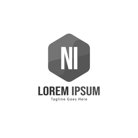 Initial NI logo template with modern frame. Minimalist NI letter logo vector illustration