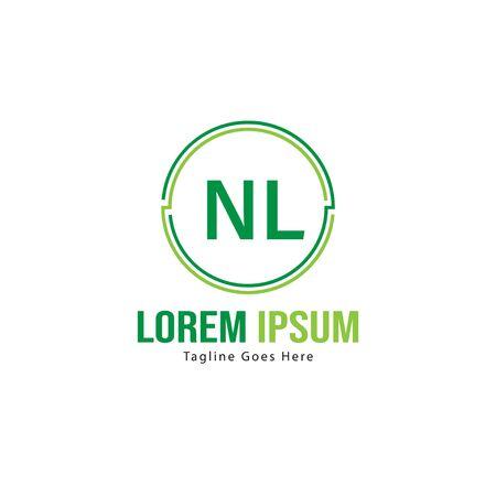 Initial NL logo template with modern frame. Minimalist NL letter logo vector illustration