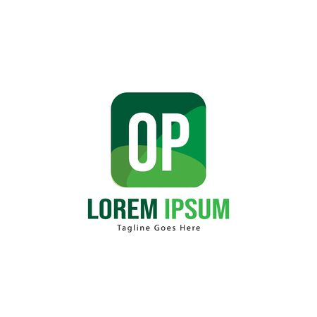 Initial OP logo template with modern frame. Minimalist OP letter logo vector illustration