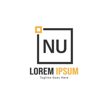 Initial NU logo template with modern frame. Minimalist NU letter logo vector illustration