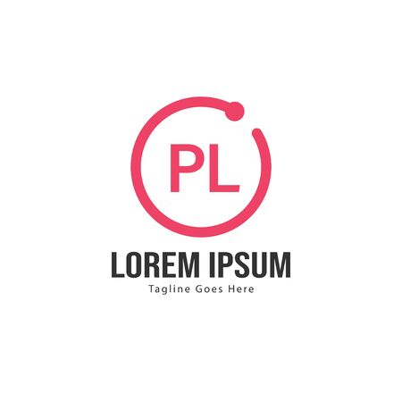 Initial PL logo template with modern frame. Minimalist PL letter logo vector illustration