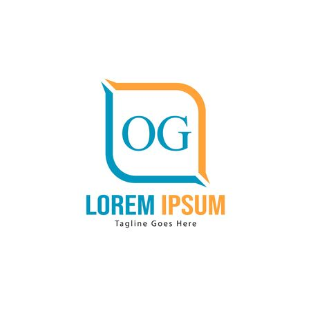 Initial OG logo template with modern frame. Minimalist OG letter logo vector illustration Stok Fotoğraf - 130060876