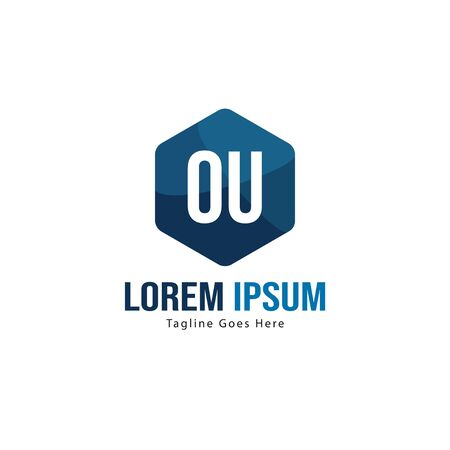 Initial OU logo template with modern frame. Minimalist OU letter logo vector illustration Stok Fotoğraf - 130060874