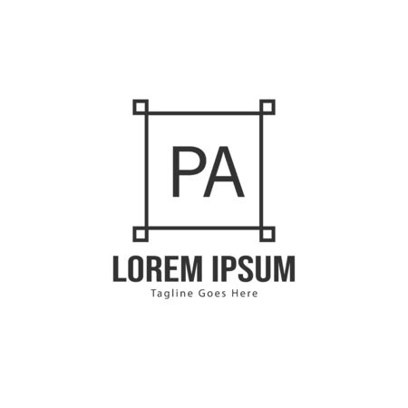 Initial PA logo template with modern frame. Minimalist PA letter logo vector illustration