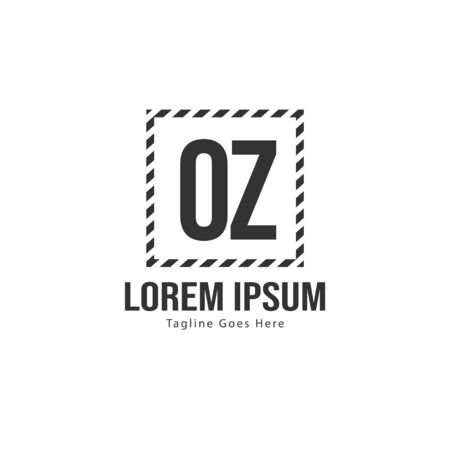 Initial OZ logo template with modern frame. Minimalist OZ letter logo vector illustration