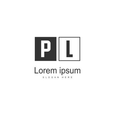 Initial PL logo template with modern frame. Minimalist PL letter logo vector illustration Stok Fotoğraf - 130061039