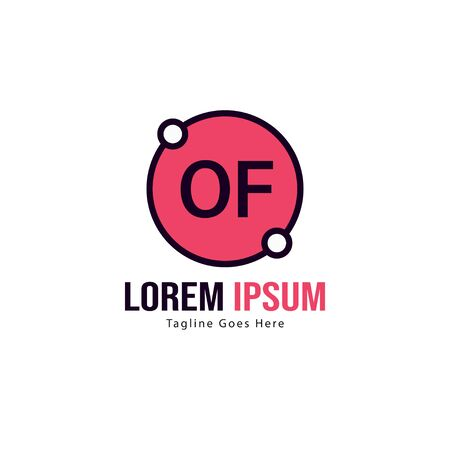 Initial OF logo template with modern frame. Minimalist OF letter logo vector illustration Çizim