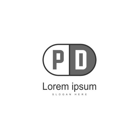 Initial PD logo template with modern frame. Minimalist PD letter logo vector illustration Stok Fotoğraf - 130061051