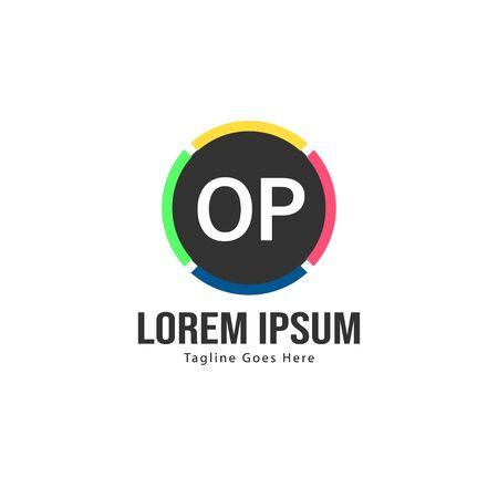Initial OP logo template with modern frame. Minimalist OP letter logo illustration