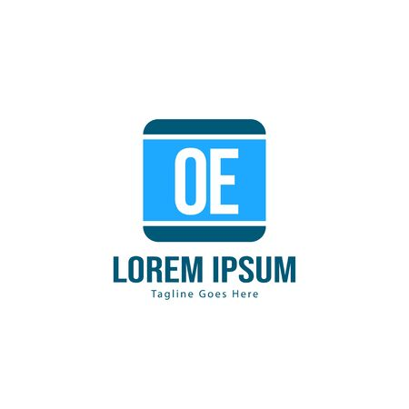 Initial OE logo template with modern frame. Minimalist OE letter logo vector illustration  イラスト・ベクター素材
