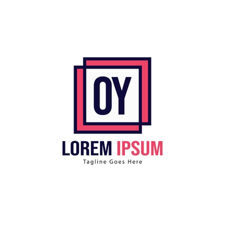 Initial OY logo template with modern frame. Minimalist OY letter logo vector illustration 写真素材 - 130098989