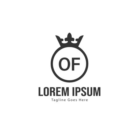 Initial OF logo template with modern frame. Minimalist OF letter logo vector illustration  イラスト・ベクター素材