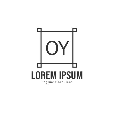 Initial OY logo template with modern frame. Minimalist OY letter logo vector illustration 写真素材 - 130100007