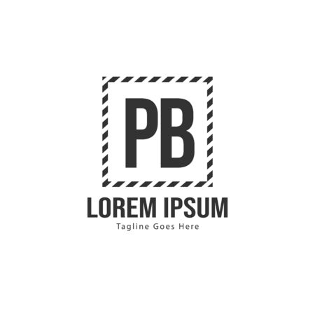 Initial PB logo template with modern frame. Minimalist PB letter logo vector illustration 写真素材 - 130100011